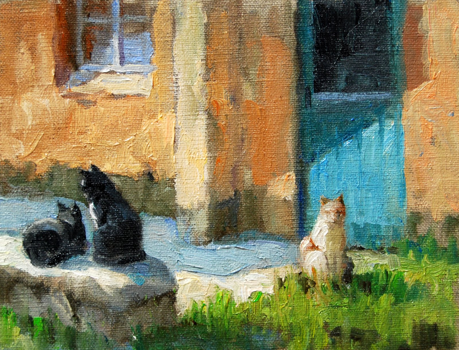"""""""Relaxing Cats"""" original fine art by Julie Ford Oliver"""