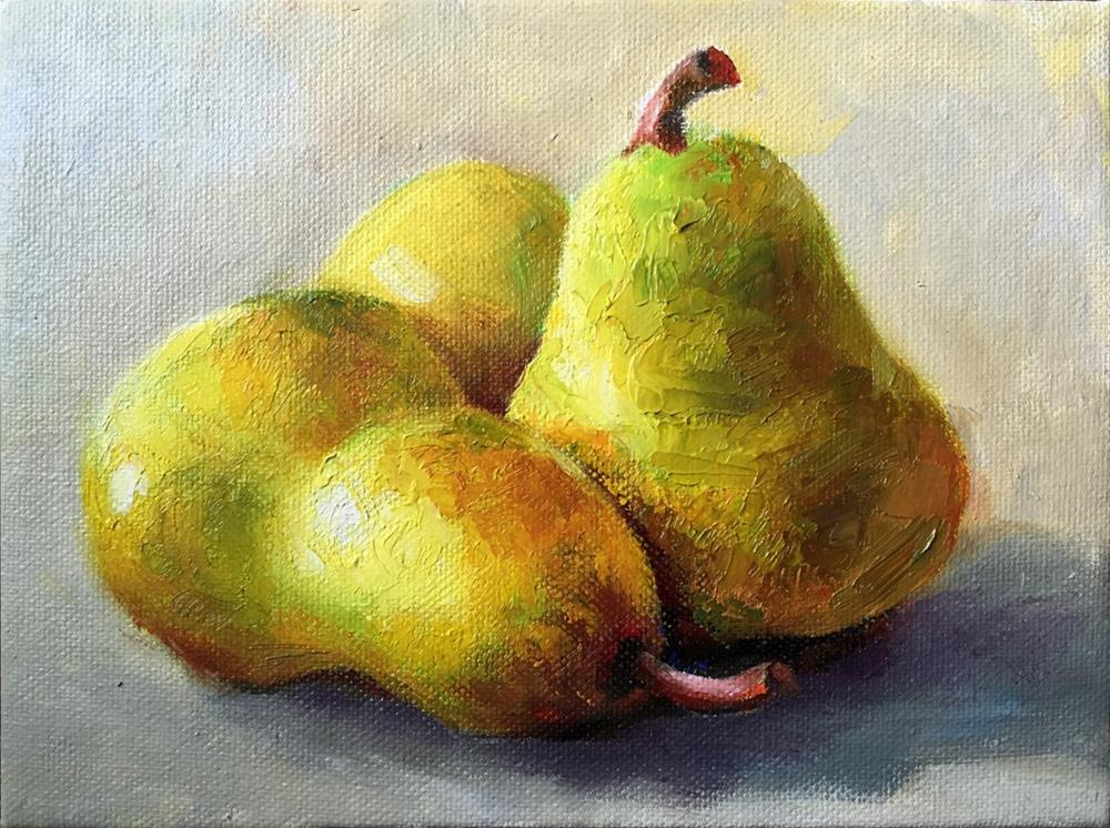 """pears"" original fine art by Joy Cai"