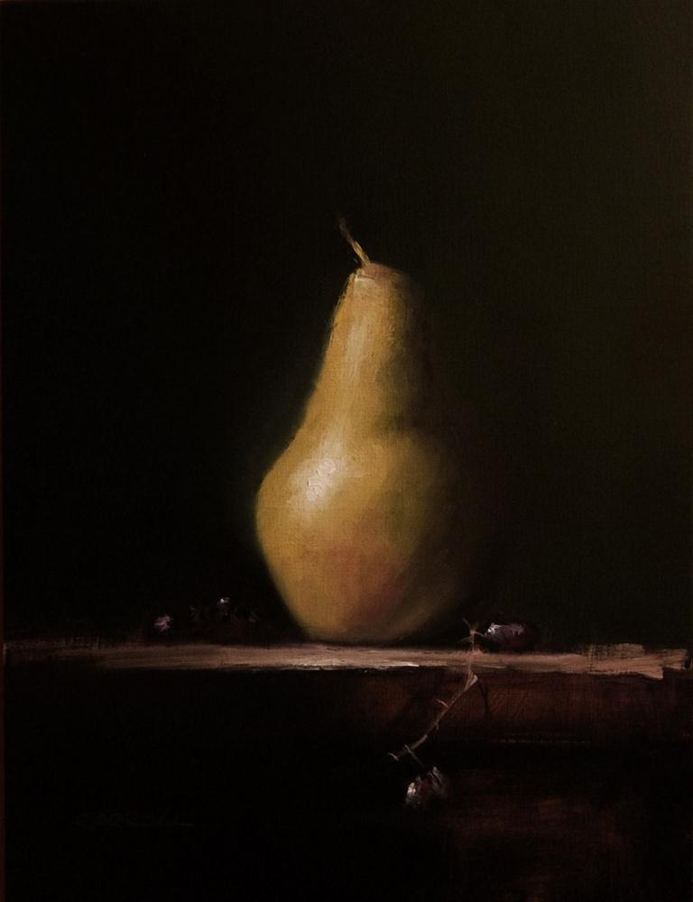 """""""Pear with Grapes"""" original fine art by Neil Carroll"""