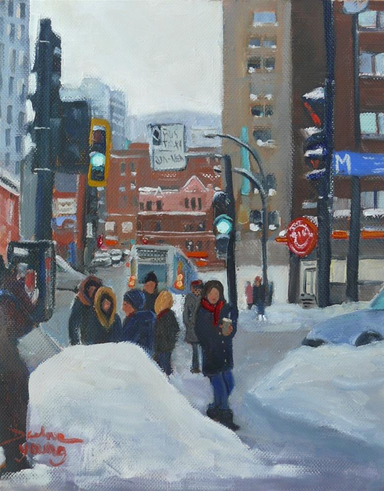 """1039 Guy Concordia, Coffee Slush and Traffic, 8x10 oil on board"" original fine art by Darlene Young"