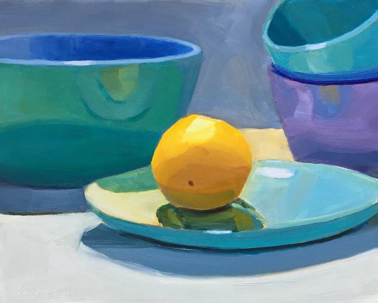 """Lemon and Blue Bowl"" original fine art by Robin Rosenthal"