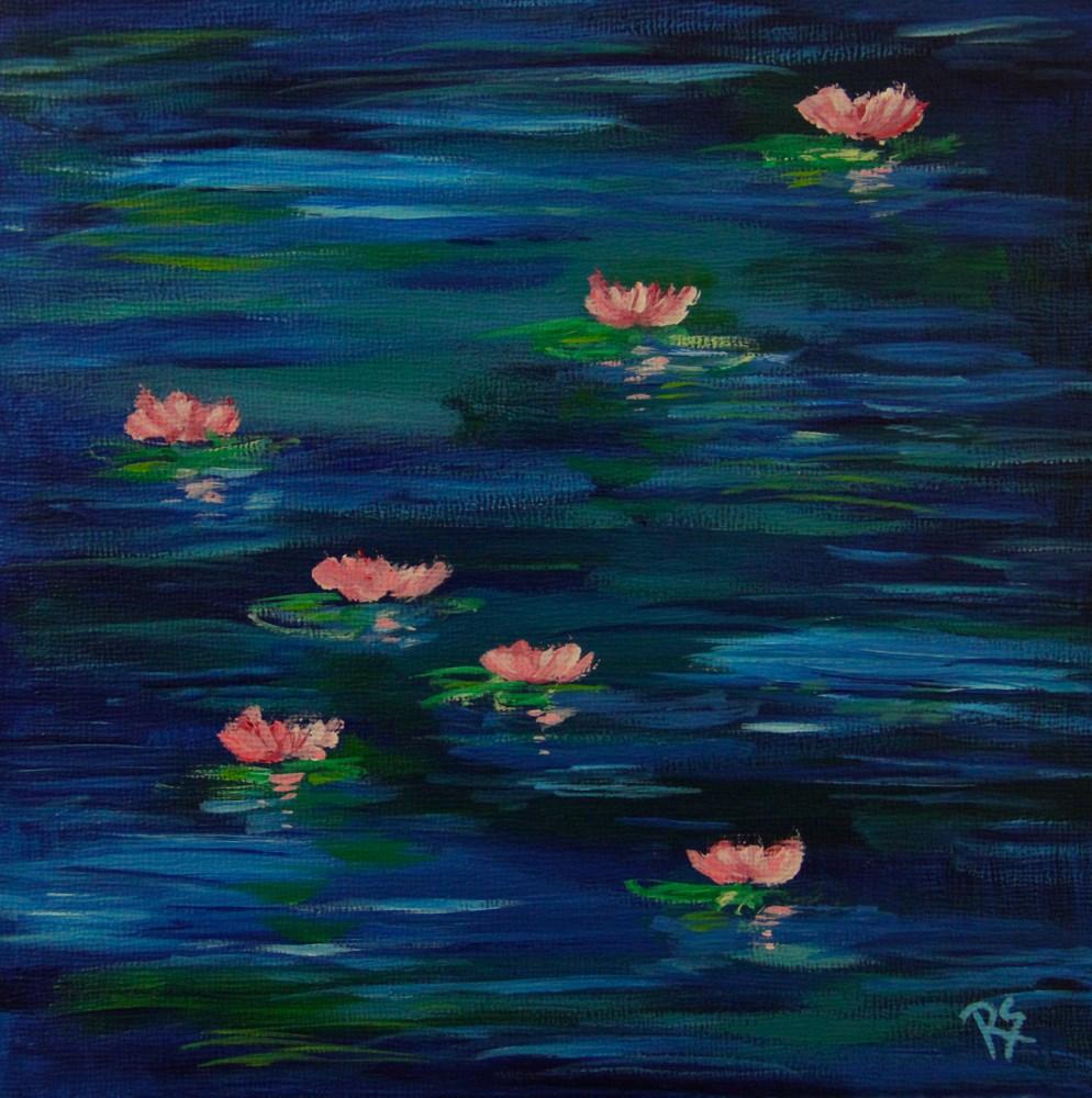 """""""Evening Water Lilies"""" original fine art by Roberta Schmidt"""