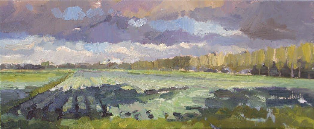 """""""Hollands landschap #6 Fields light and shadow"""" original fine art by Roos Schuring"""