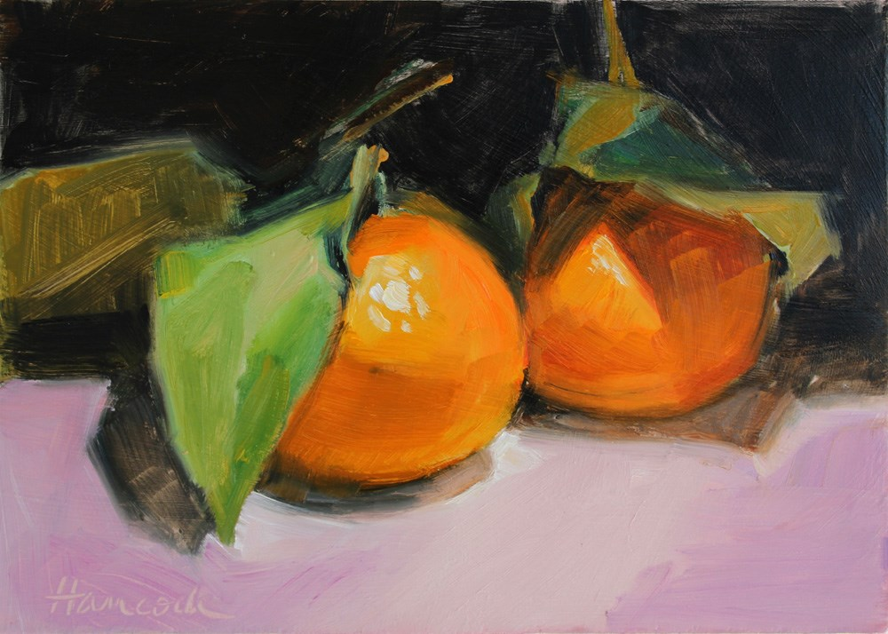"""Two Tangerines Leaves on Pink"" original fine art by Gretchen Hancock"