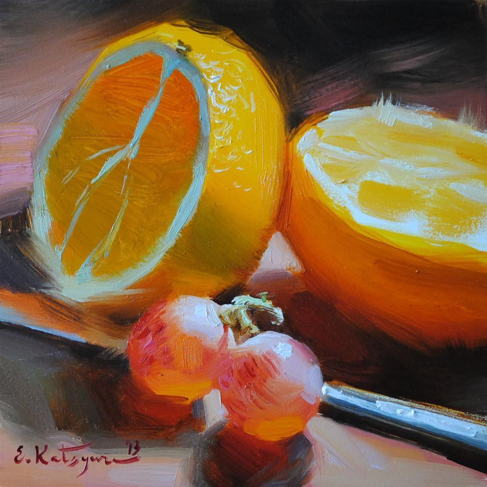 """Oranges and Grapes"" original fine art by Elena Katsyura"