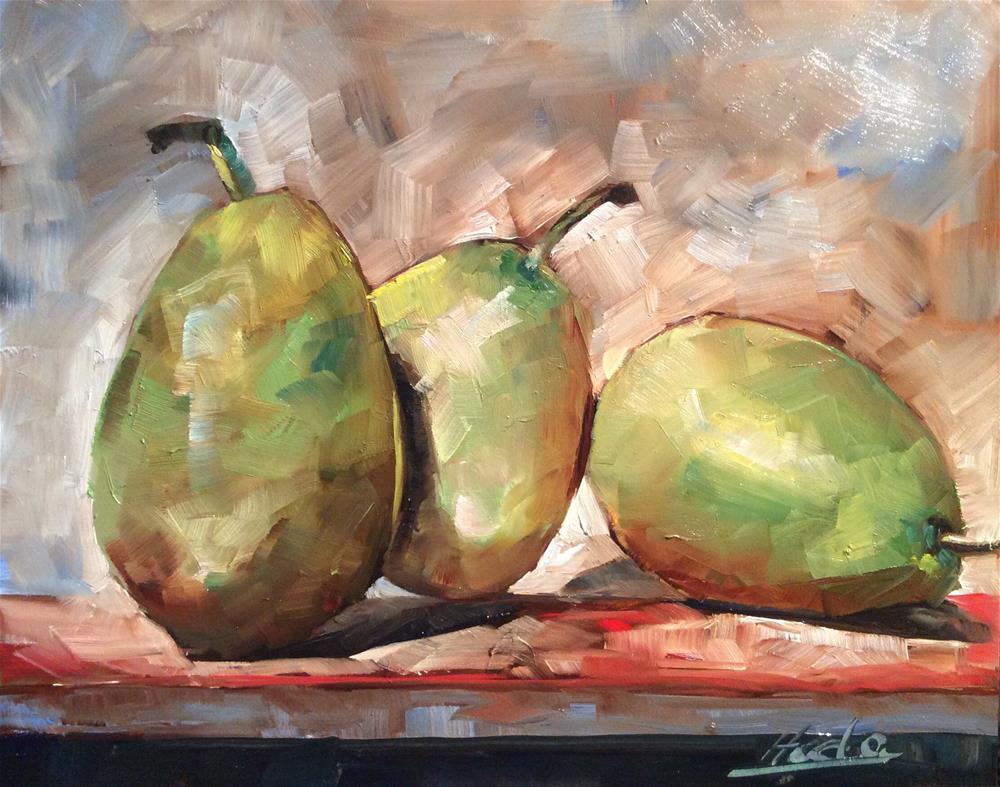"""Triple Pear"" original fine art by Hoda Nicholas"