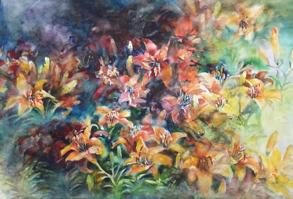 """""""Blooming lily"""" original fine art by Wenqing Xu"""