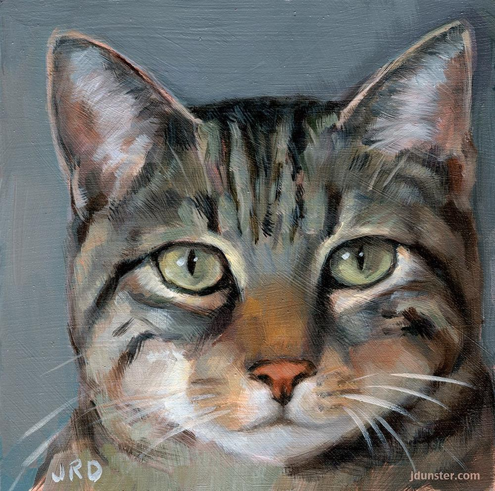 """Tabby Cat Head"" original fine art by J. Dunster"