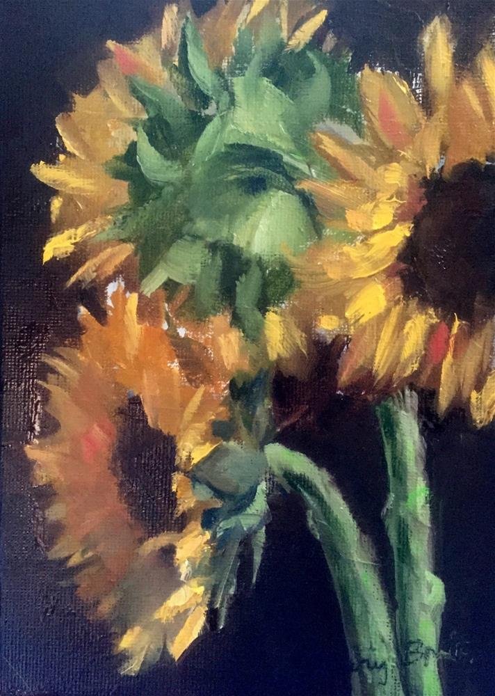 """Sunflower Trio"" original fine art by Gary Bruton"