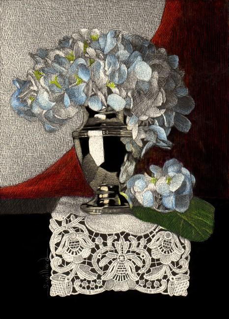"""Classical Hydrangea"" original fine art by Sandra Willard"