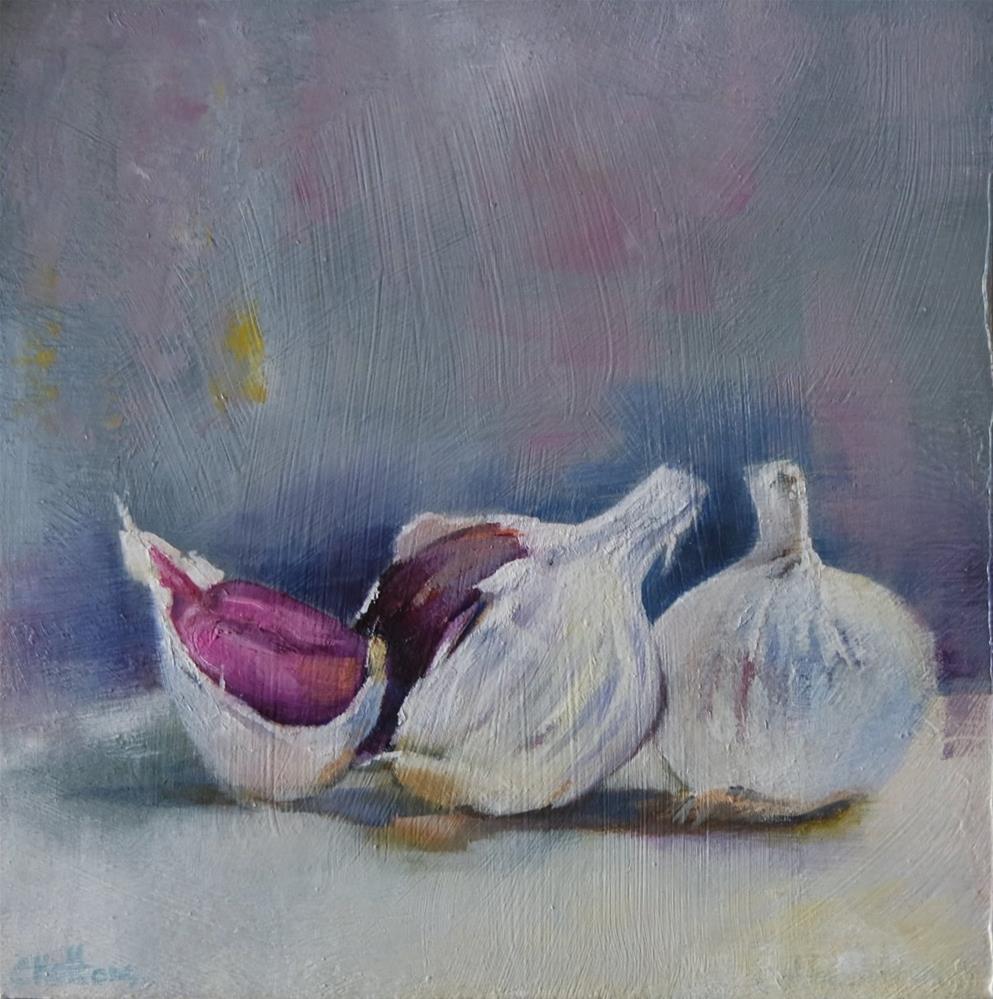 """Garlic Cloves"" original fine art by Cathy Holtom"