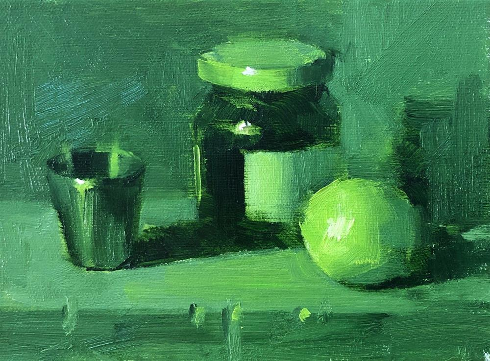 """Still life in green study 043020"" original fine art by Qiang Huang"