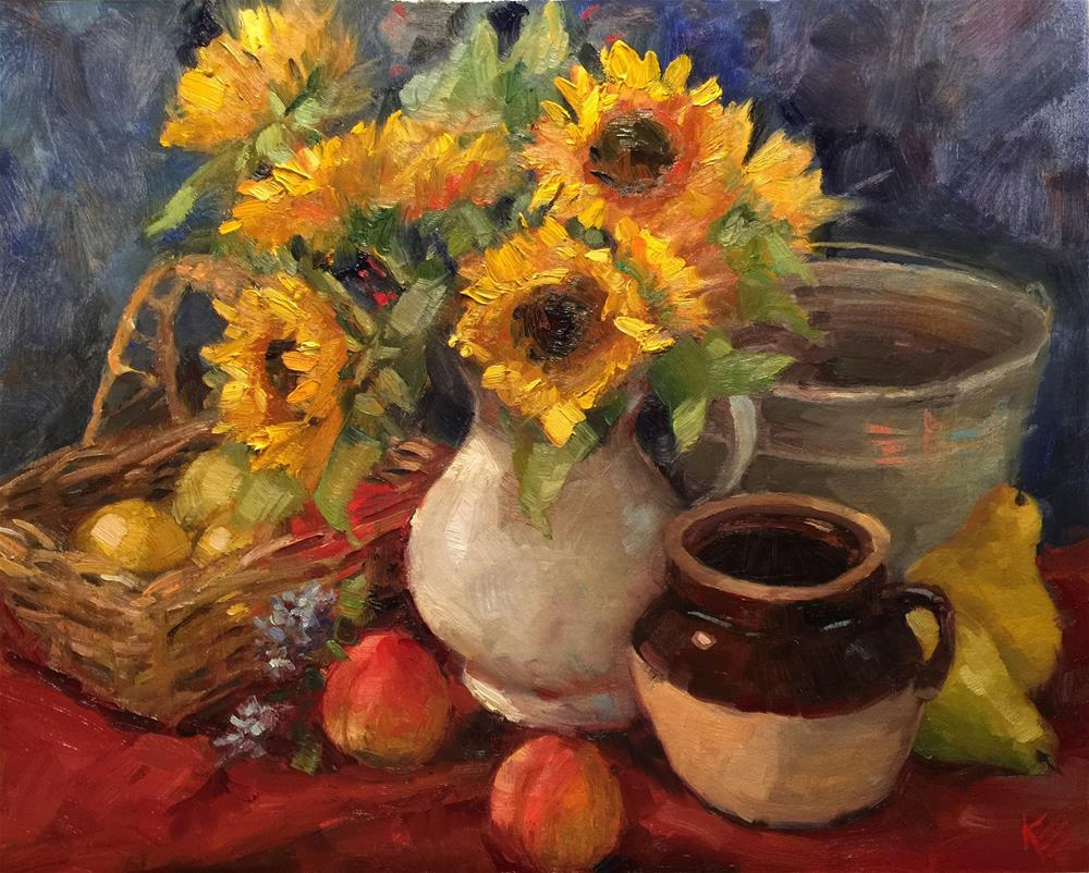 """Sunflowers and Peaches"" original fine art by Krista Eaton"