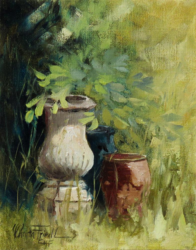 """""""Garden Pottery"""" original fine art by Christa Friedl"""