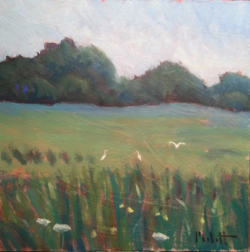 """Egrets Along Eagle Marsh Wetlands Bird Painting"" original fine art by Heidi Malott"