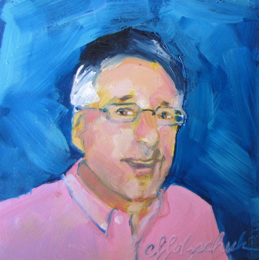 """Tom  4x4 oil portrait sold"" original fine art by Christine Holzschuh"