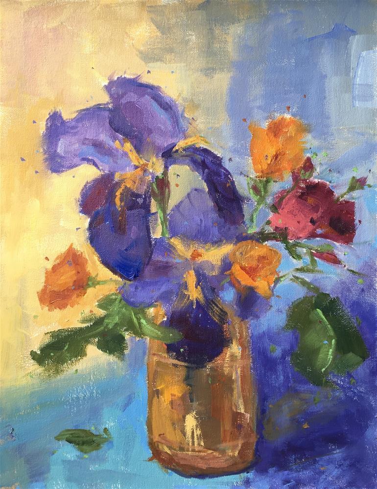 """Backyard Bouquet - Iris"" original fine art by Victoria  Biedron"