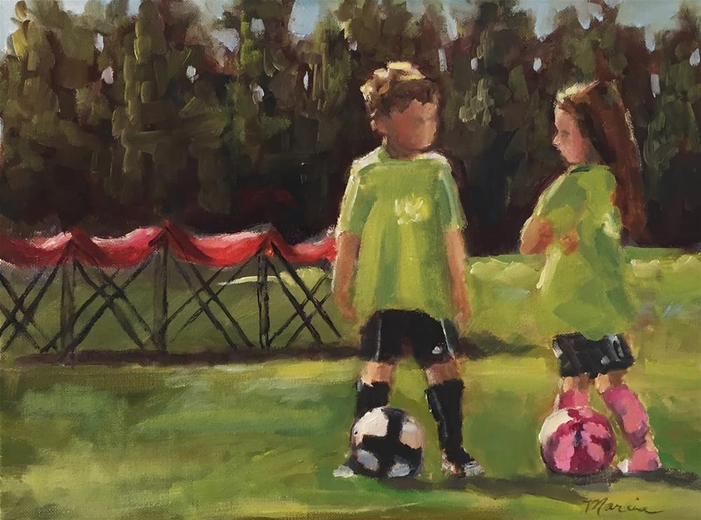 """Soccer Strategy"" original fine art by Marcia Hodges"
