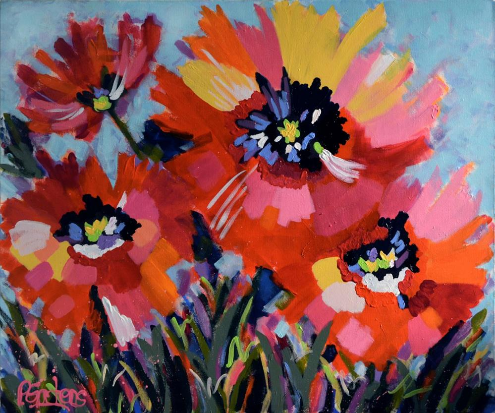 """Orange and Red Poppies"" original fine art by Pamela Gatens"