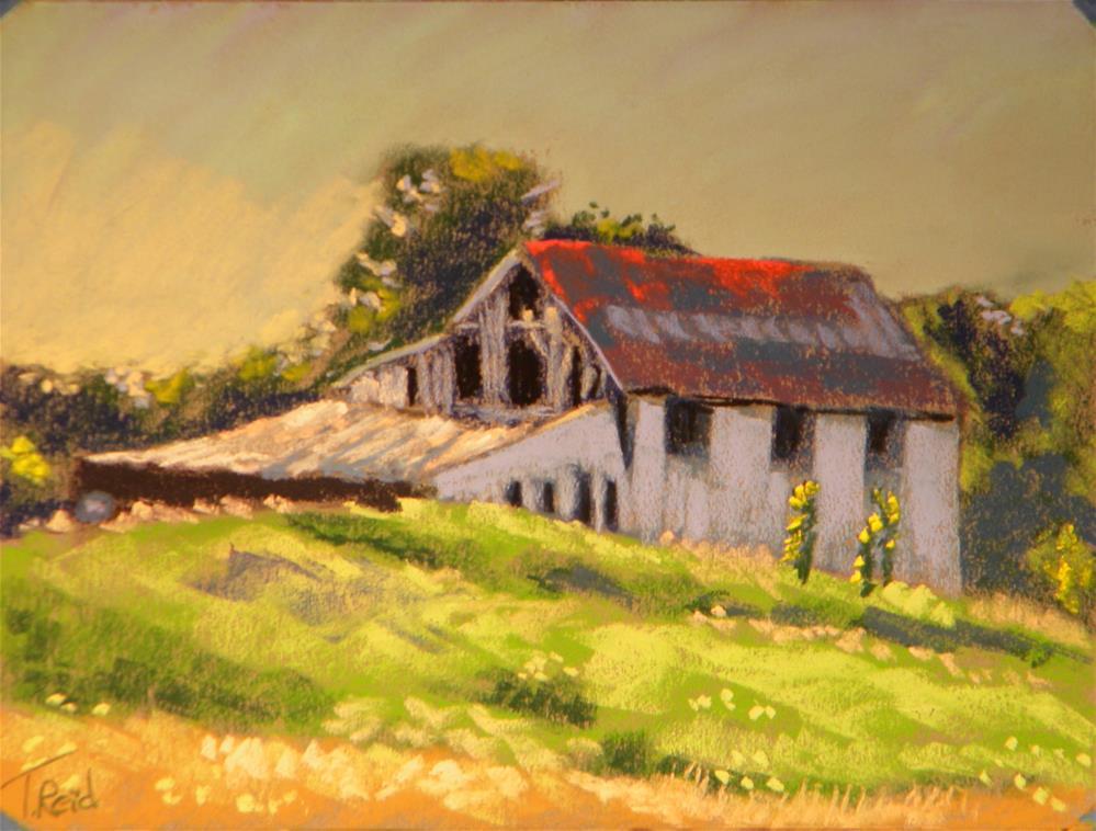 """""""Red roof barn"""" original fine art by Toby Reid"""