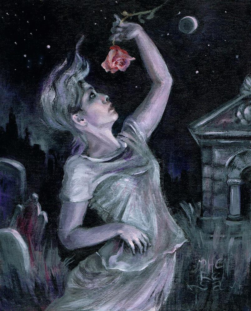 """Ghost With a Rose"" original fine art by Theresa Taylor Bayer"
