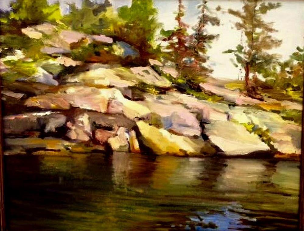 """Rocks at Honey Harbour"" original fine art by Cathy Boyd"