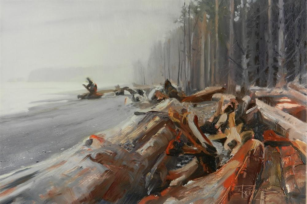 """Driftwood at Rialto Beach La Push seascape, oil painting, by Robin Weiss"" original fine art by Robin Weiss"