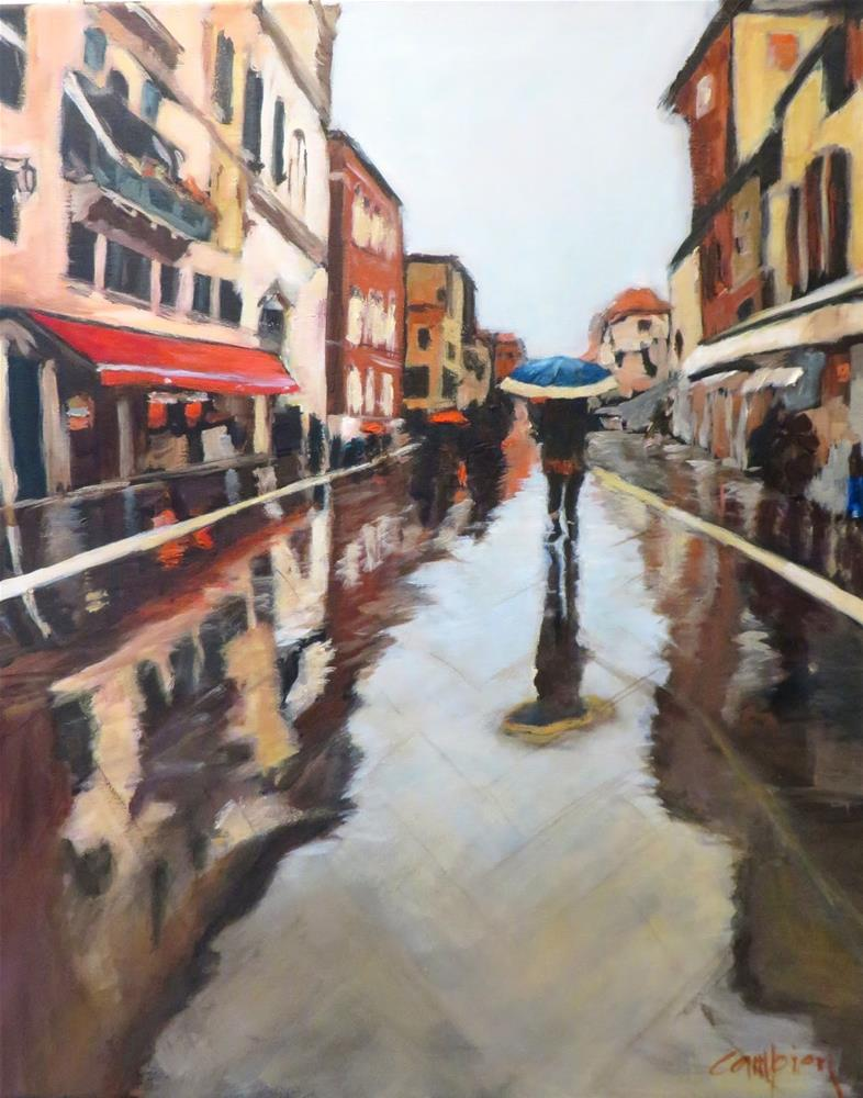 """875 Blue Umbrella"" original fine art by Diane Campion"