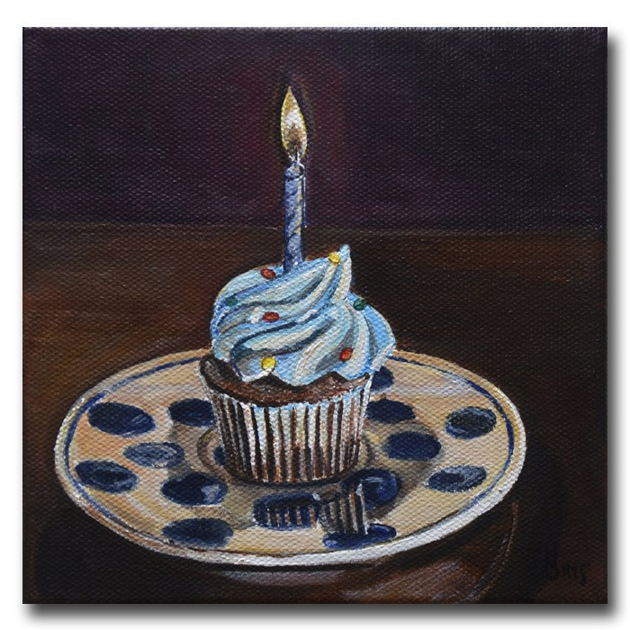 """Blue Cupcake: Polish Pottery LXXVIII"" original fine art by Heather Sims"