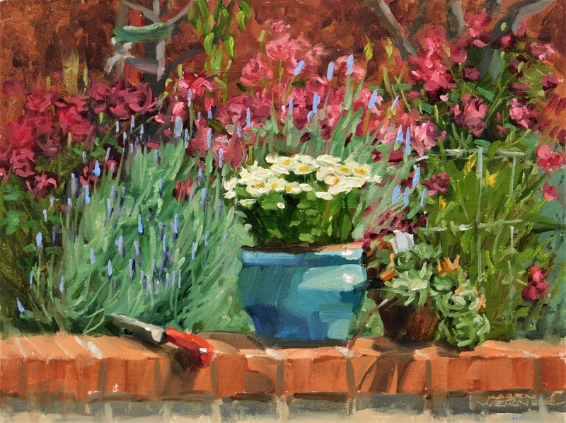 """""""On The Garden Wall"""" original fine art by Karen Werner"""