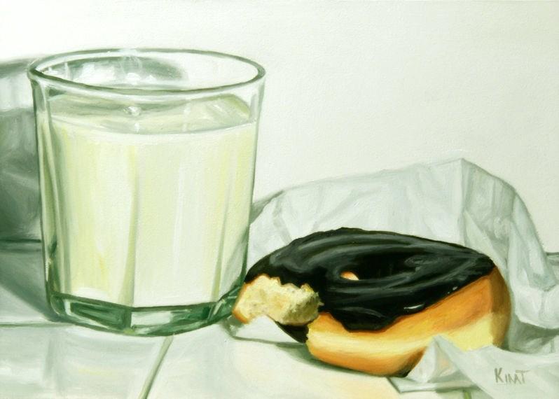 """Glass of Milk and  a Chocolate Donut"" original fine art by Kim Testone"