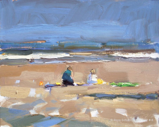 """Seascape spring #8 Morning light beach, 2 people sunny - Zeegezicht zonnig strand"" original fine art by Roos Schuring"