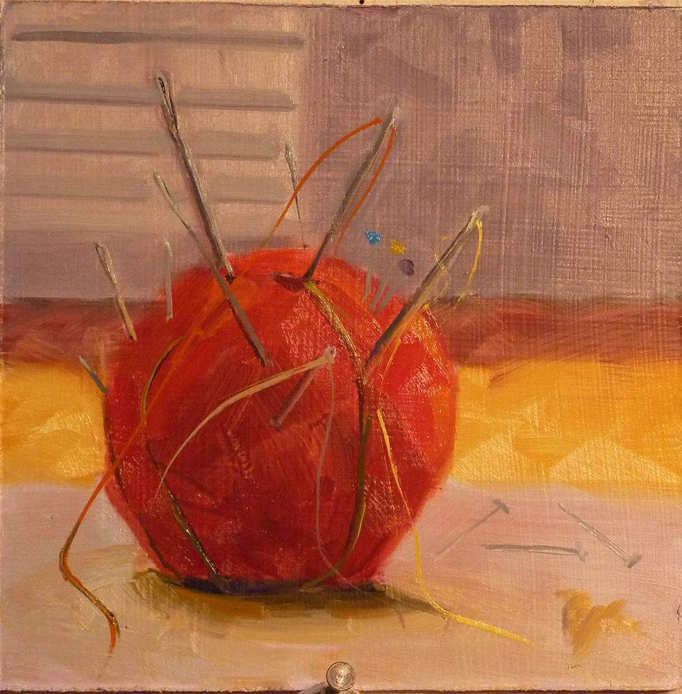 """""""Red Apple Pincushion"""" original fine art by Mary Pyche"""