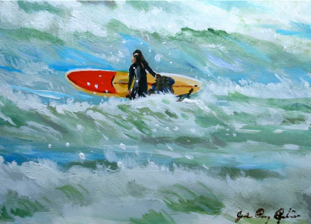 """Surfer Girl"" original fine art by JoAnne Perez Robinson"