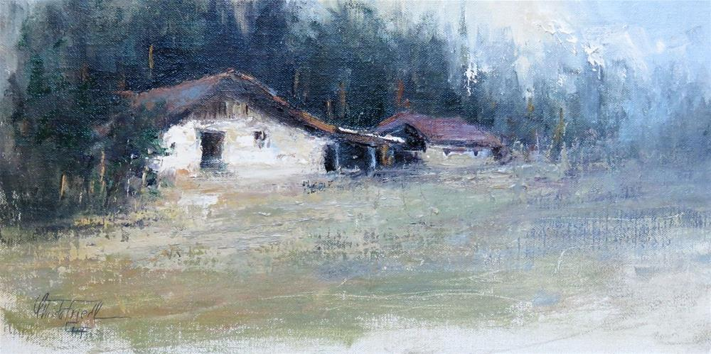 """Old Alpine Chalet"" original fine art by Christa Friedl"