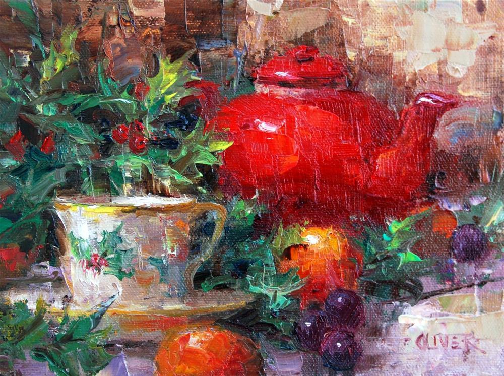 """""""Holly at Tea Time"""" original fine art by Julie Ford Oliver"""