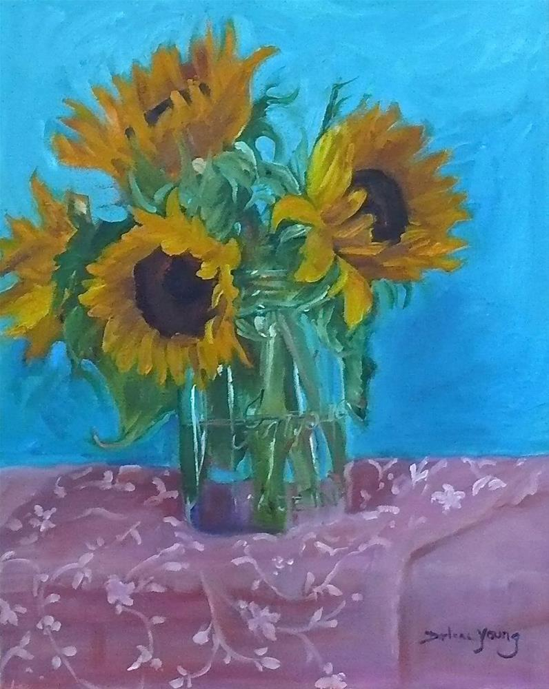 """698 Sun Flowers in a Jar"" original fine art by Darlene Young"