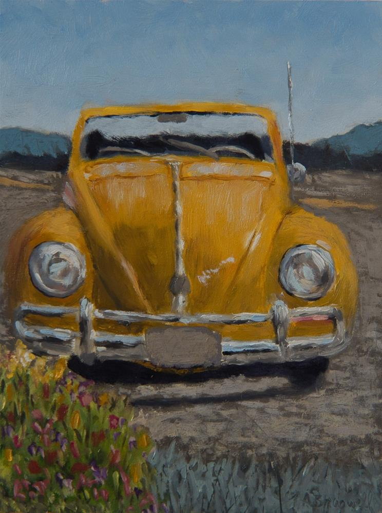 """Yellow Bug"" original fine art by Amy Braswell"