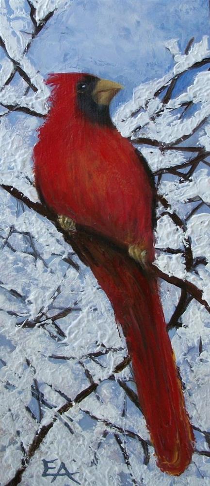 """Cardinal Palette Knife Painting"" original fine art by Elizabeth Elgin"