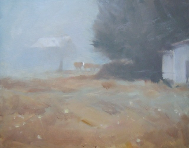 """""""White Face  cow, landscape painting by Robin Weiss"""" original fine art by Robin Weiss"""