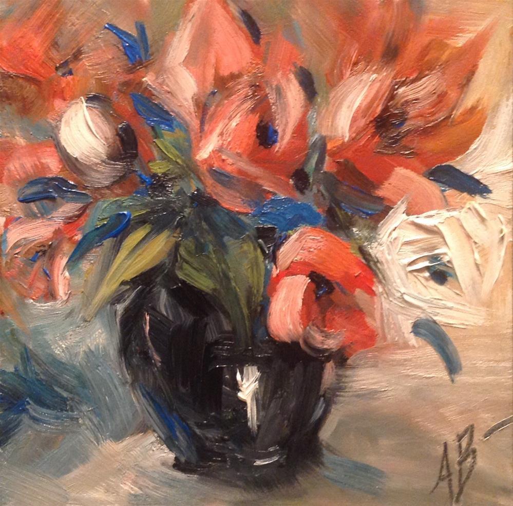 """""""Floral in Black Vase"""" original fine art by Annette Balesteri"""