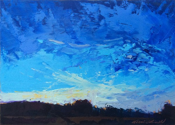 """Winter Sunset, Clouds"" original fine art by Mary Gilkerson"