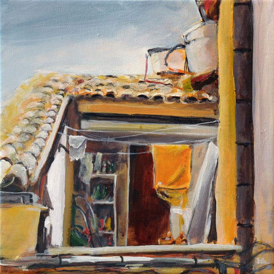 """1092 The Balcony"" original fine art by Dietmar Stiller"