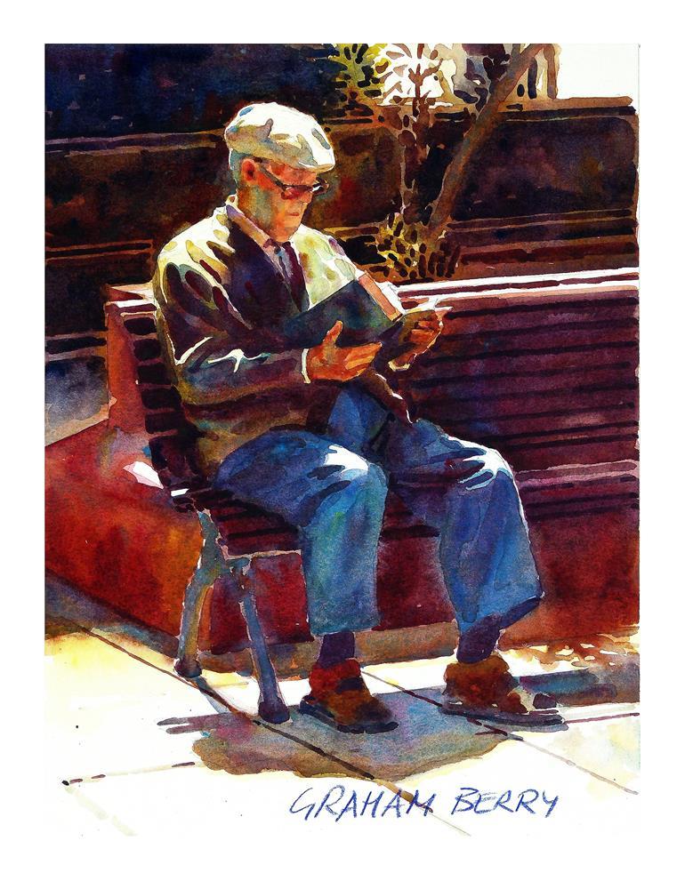 """A good read."" original fine art by Graham Berry"
