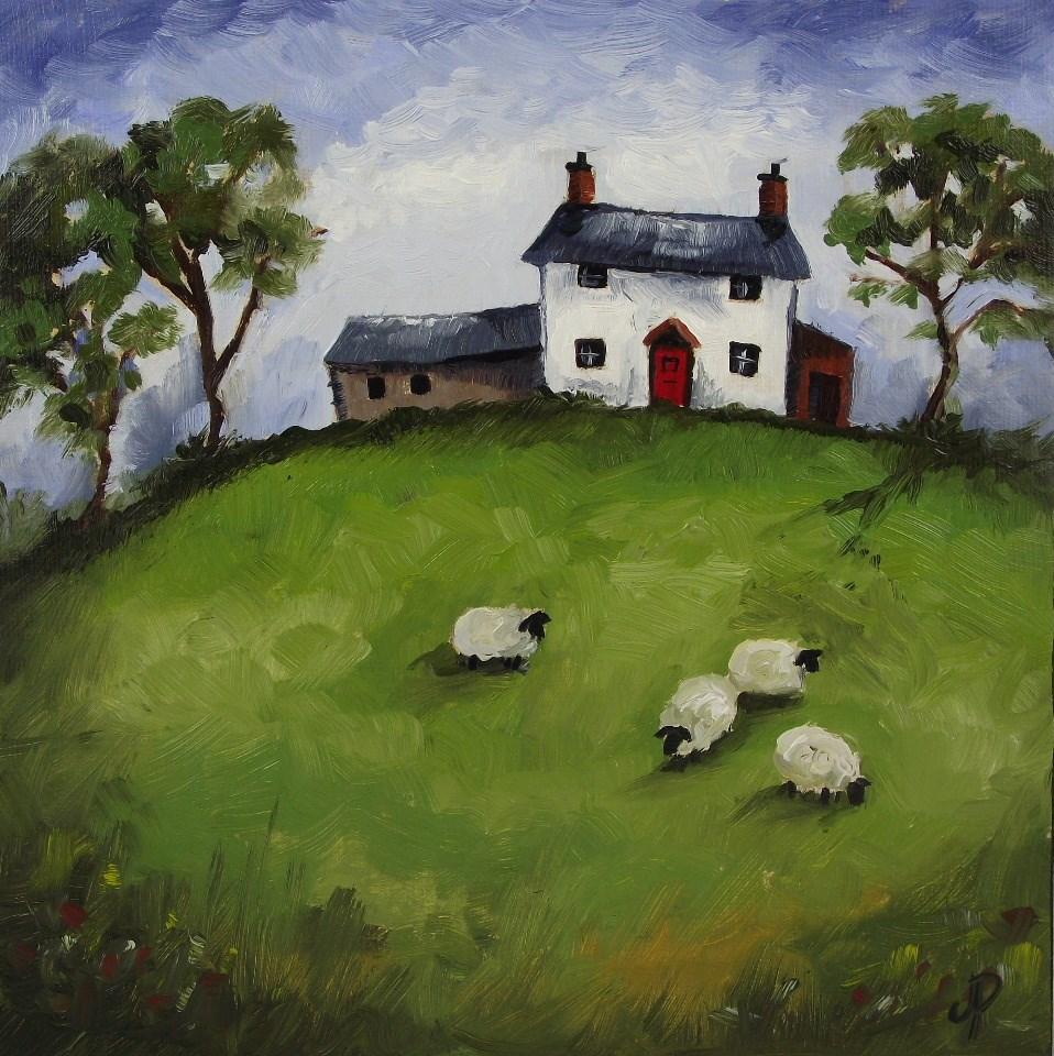 """Welsh cottage with Sheep"" original fine art by Jane Palmer"