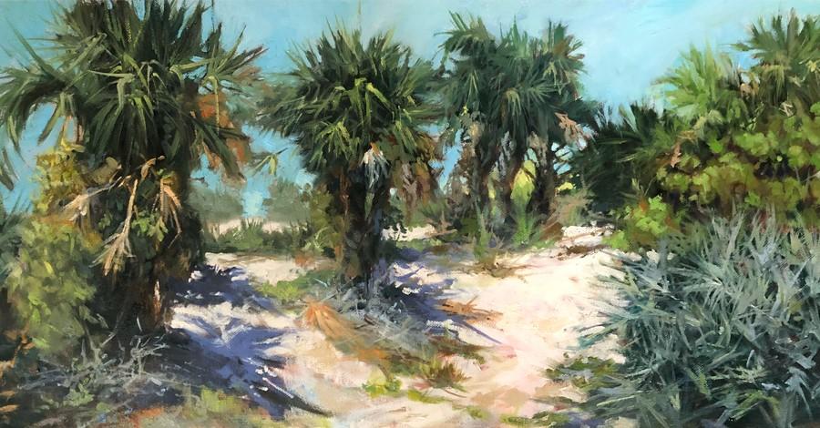 """Dune Palms"" original fine art by Lynne Polley"