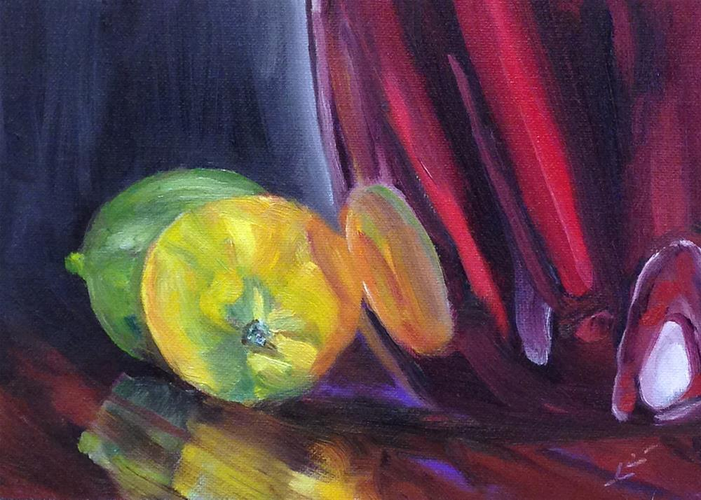 """""""Red Vase with Lemon and Lime"""" original fine art by Linda Lowery"""