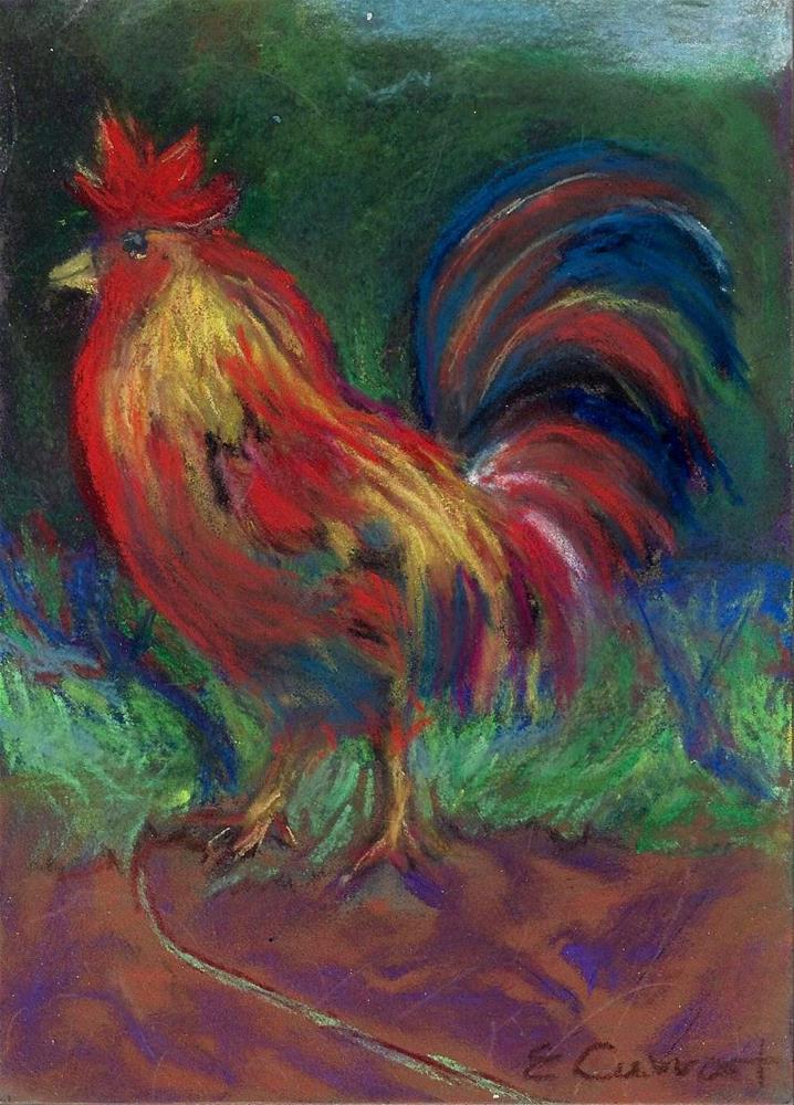 """""""Maui Rooster"""" original fine art by Elizabeth Current"""