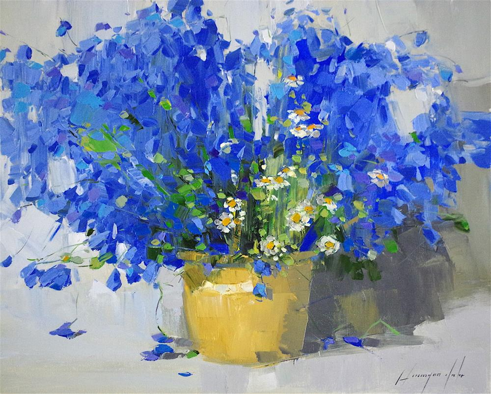 """Blue Flowers, Original oil Painting, Handmade art, One of a kind"" original fine art by V Y"