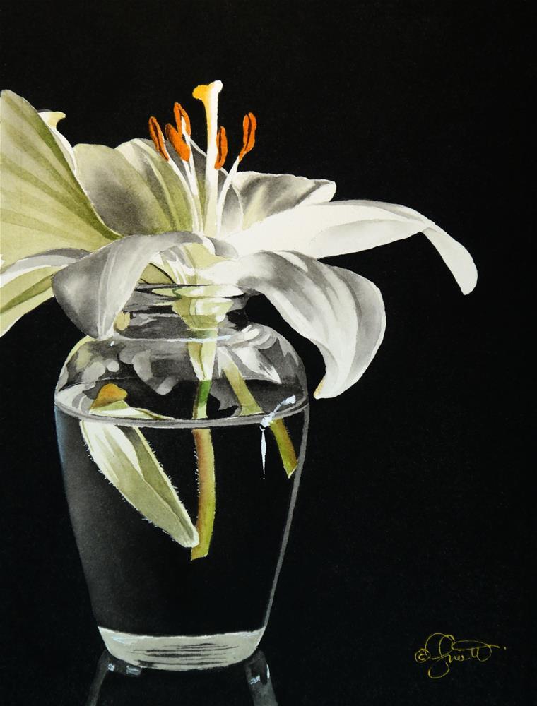 """White Lily in Vase"" original fine art by Jacqueline Gnott, TWSA, WHS"